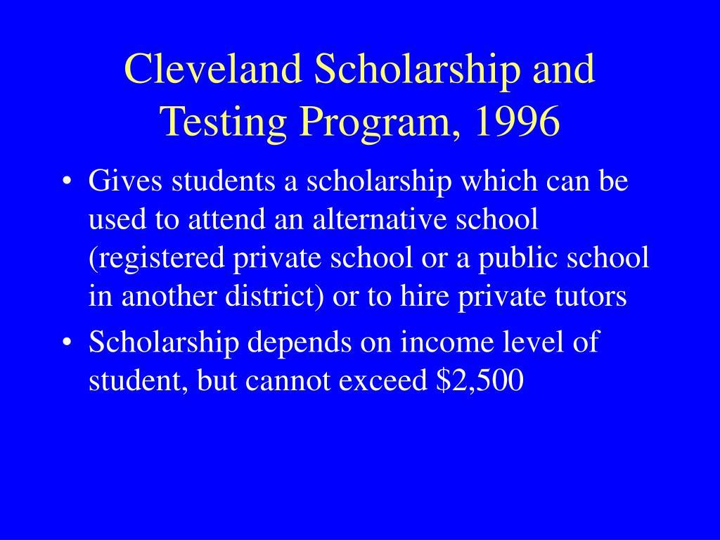 Cleveland Scholarship and Testing Program, 1996
