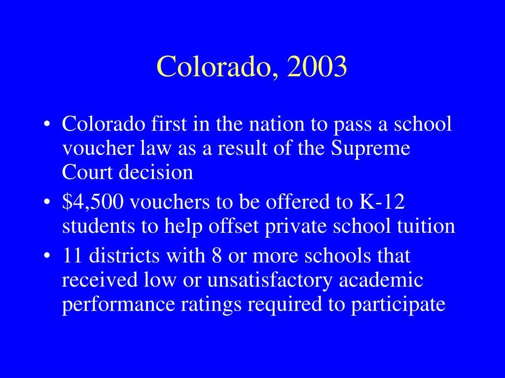 Colorado, 2003