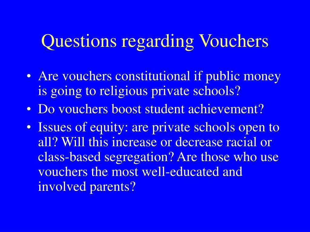 Questions regarding Vouchers