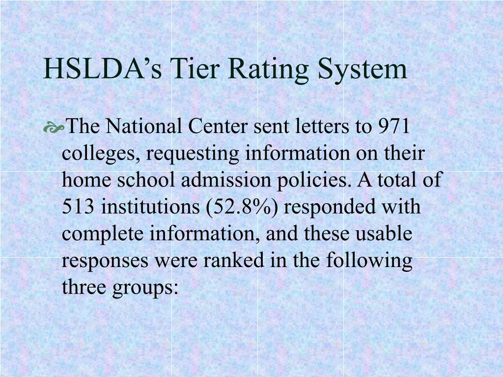 HSLDA's Tier Rating System