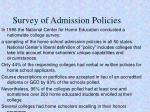 survey of admission policies