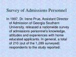survey of admissions personnel