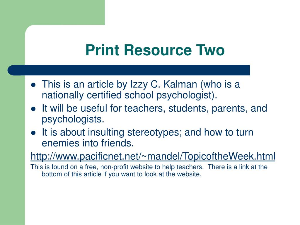 Print Resource Two