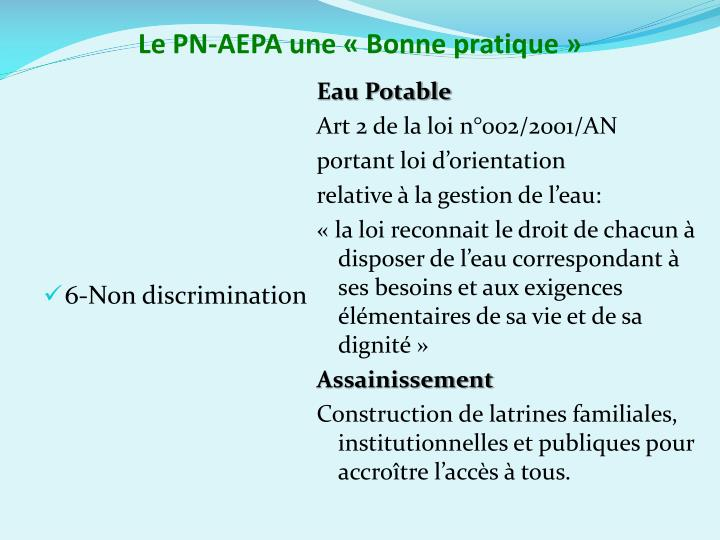 Le PN-AEPA une «Bonne pratique»