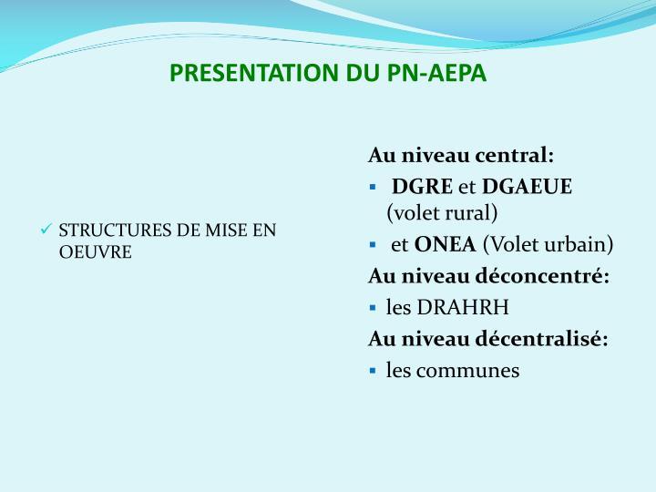 PRESENTATION DU PN-AEPA