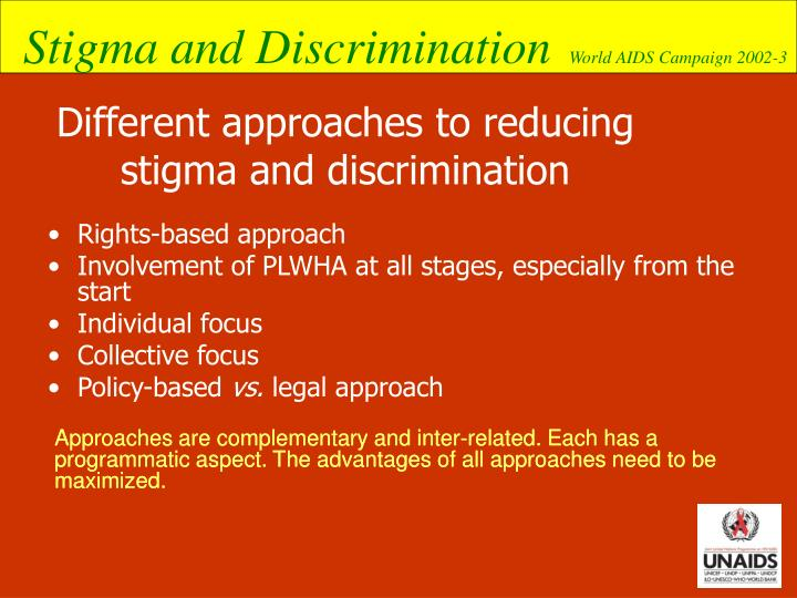 Different approaches to reducing stigma and discrimination