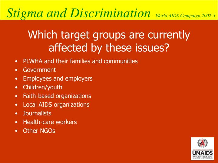 Which target groups are currently affected by these issues?
