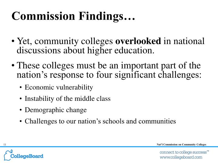 Commission Findings…