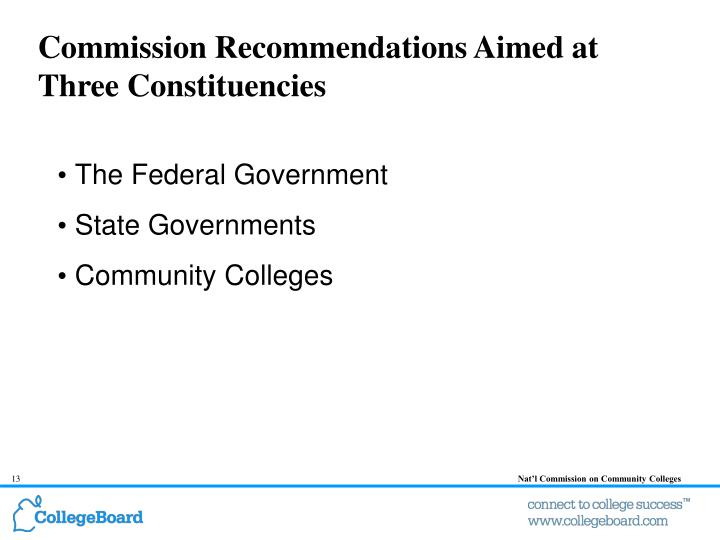 Commission Recommendations Aimed at Three Constituencies
