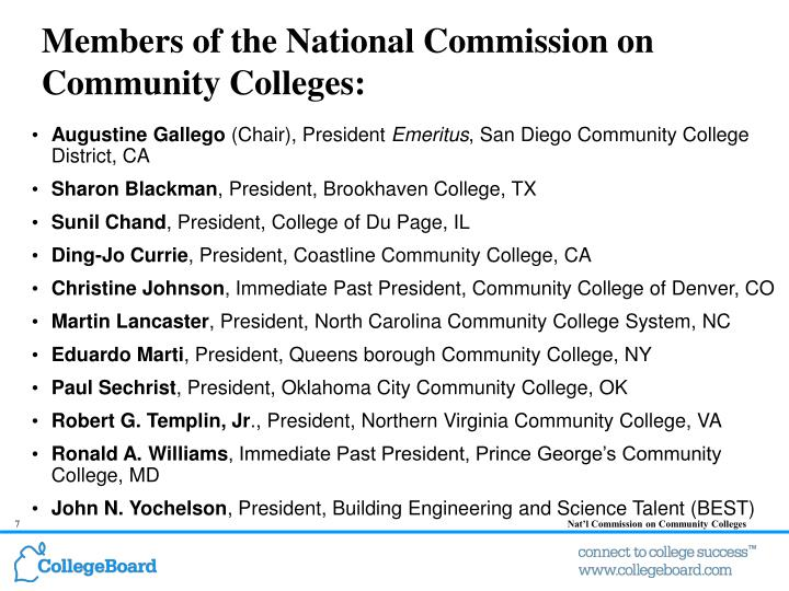 Members of the National Commission on Community Colleges:
