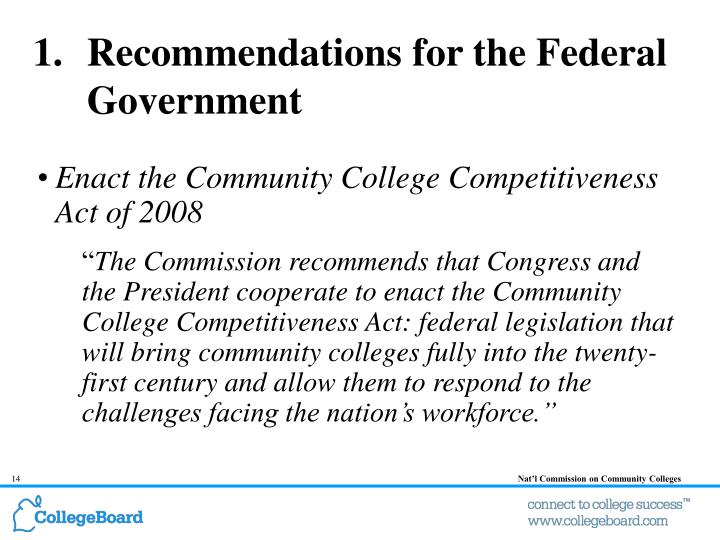 Recommendations for the Federal Government