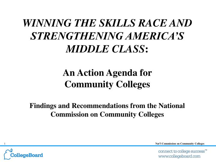 WINNING THE SKILLS RACE AND STRENGTHENING AMERICA'S