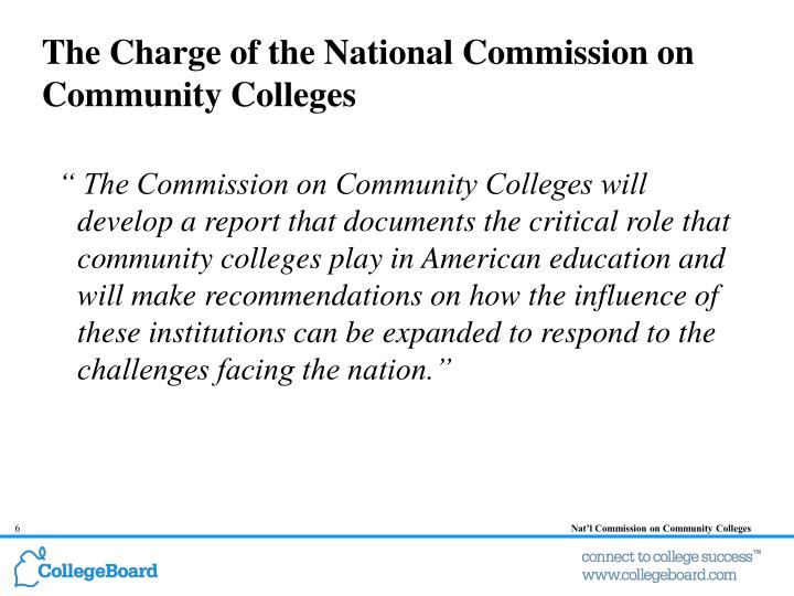 The Charge of the National Commission on Community Colleges