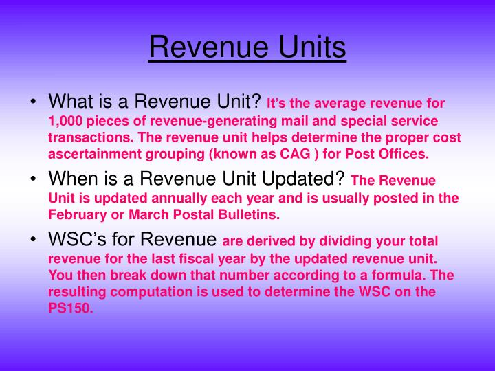 Revenue Units