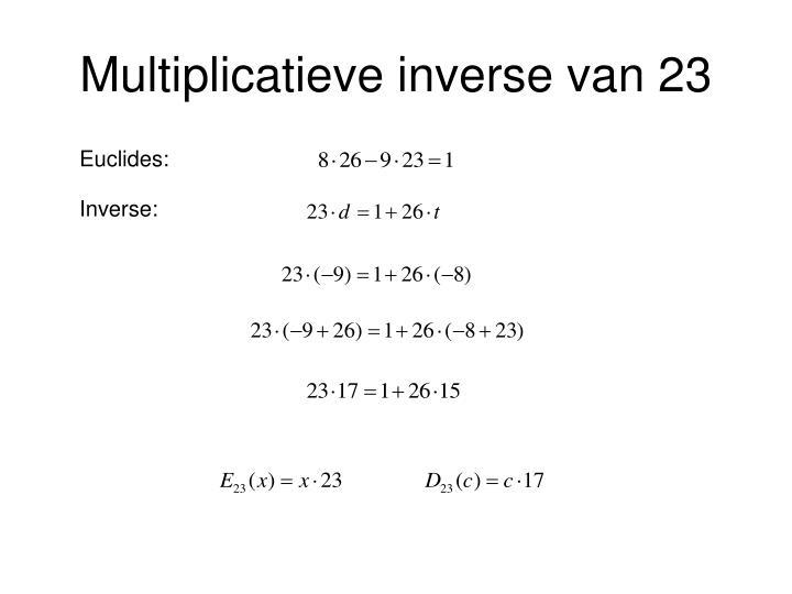 Multiplicatieve inverse van 23