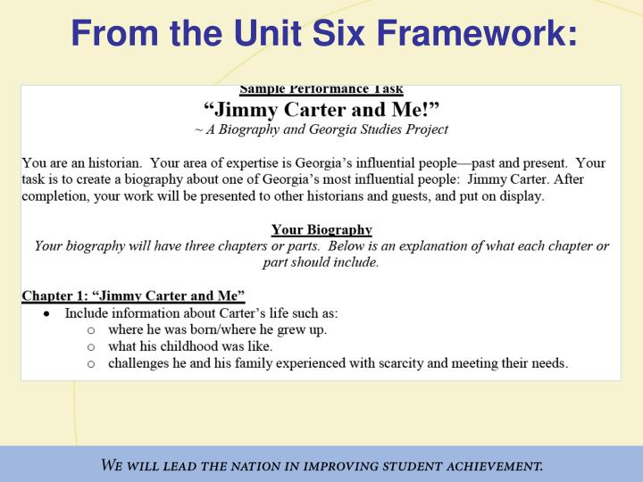 From the Unit Six Framework: