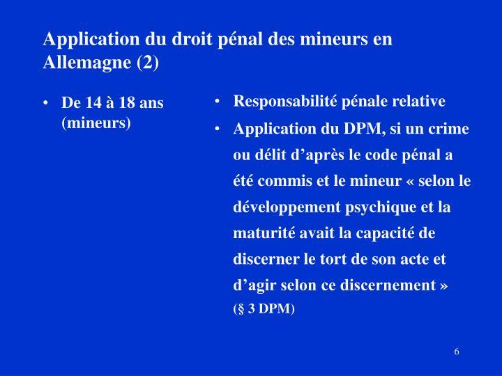 Application du droit pénal des mineurs en  Allemagne