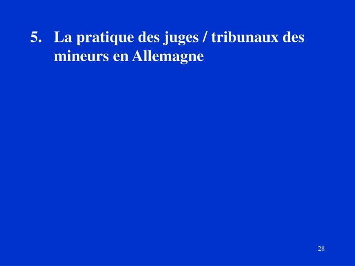 La pratique des juges / tribunaux des mineurs en Allemagne