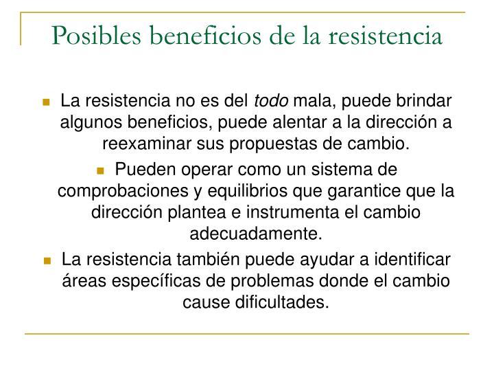 Posibles beneficios de la resistencia