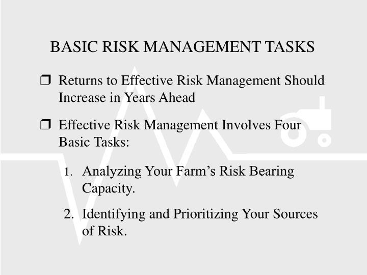BASIC RISK MANAGEMENT TASKS