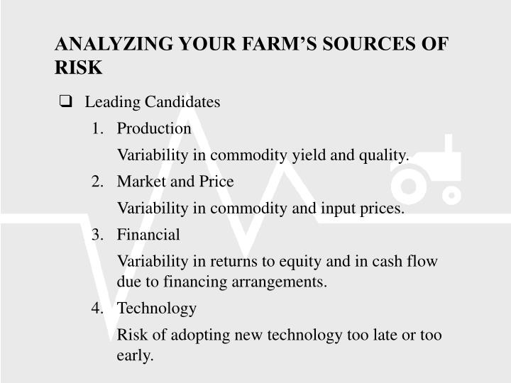 ANALYZING YOUR FARM'S SOURCES OF RISK