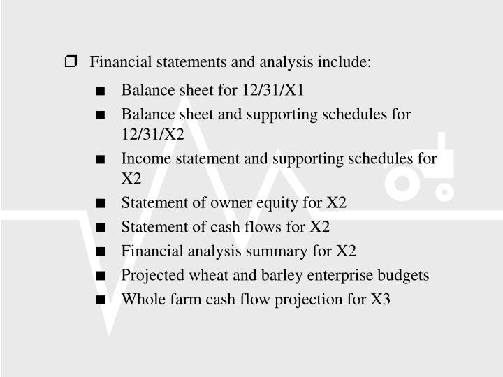 Financial statements and analysis include: