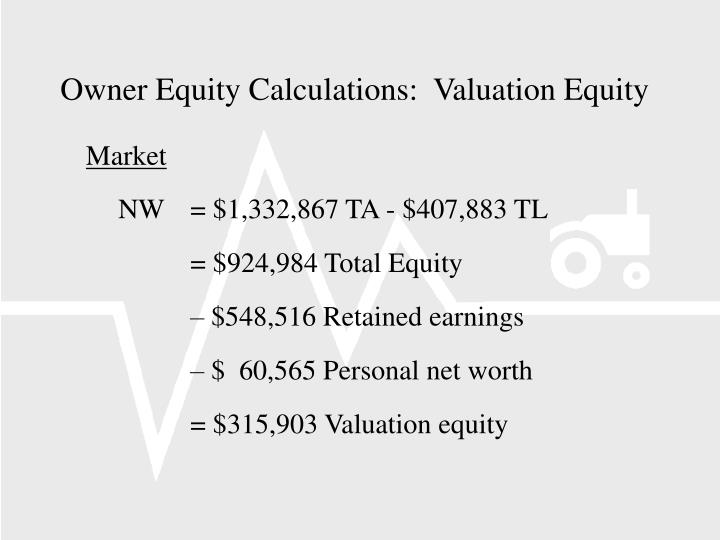Owner Equity Calculations:  Valuation Equity