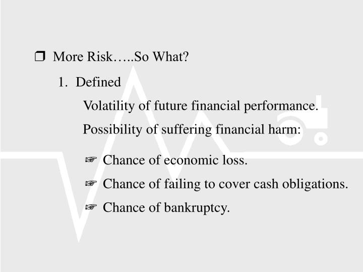 More Risk…..So What?