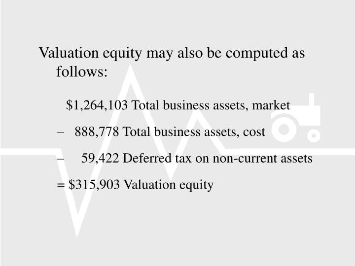 Valuation equity may also be computed as follows: