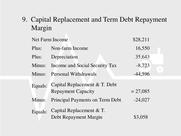 9.  Capital Replacement and Term Debt Repayment Margin