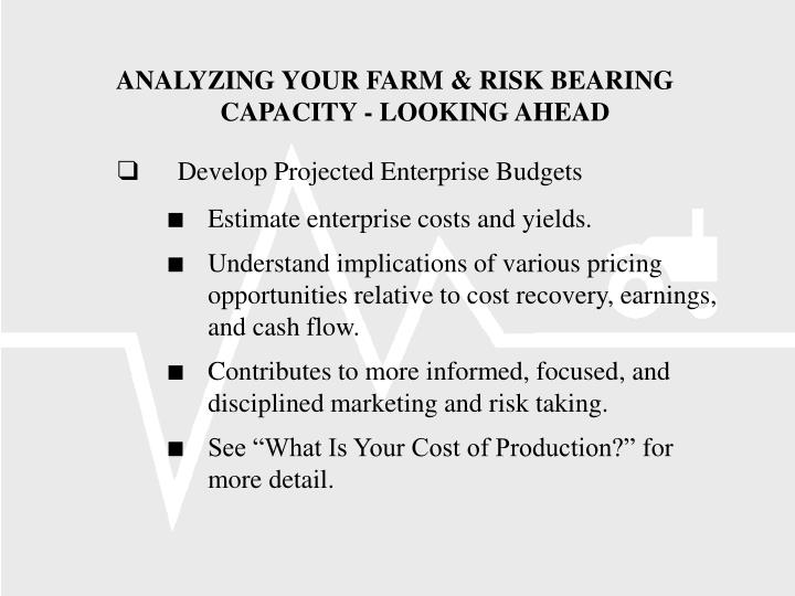 ANALYZING YOUR FARM & RISK BEARING CAPACITY - LOOKING AHEAD
