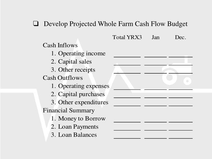 Develop Projected Whole Farm Cash Flow Budget