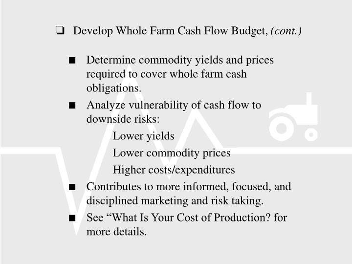 Develop Whole Farm Cash Flow Budget,