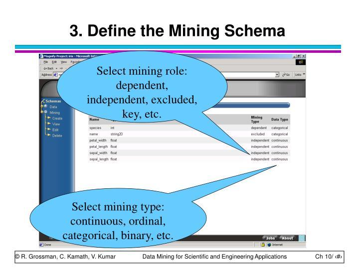 3. Define the Mining Schema