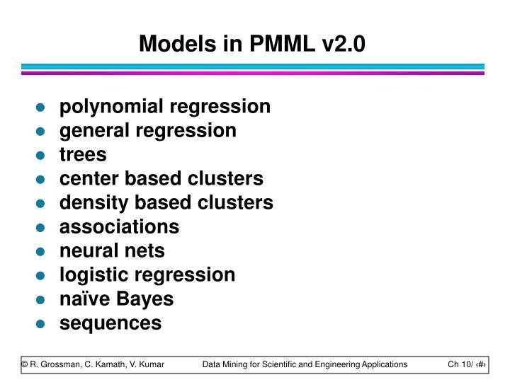 Models in PMML v2.0