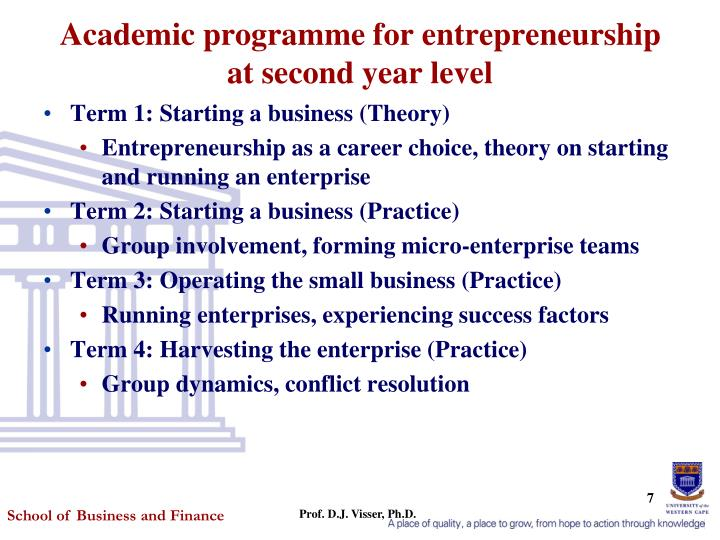 Academic programme for entrepreneurship at second year level