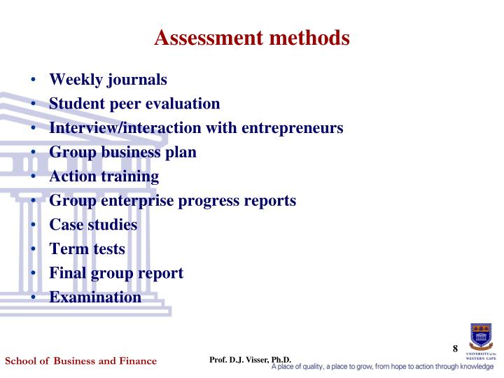 Assessment methods