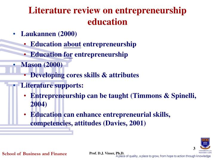 Literature review on entrepreneurship education