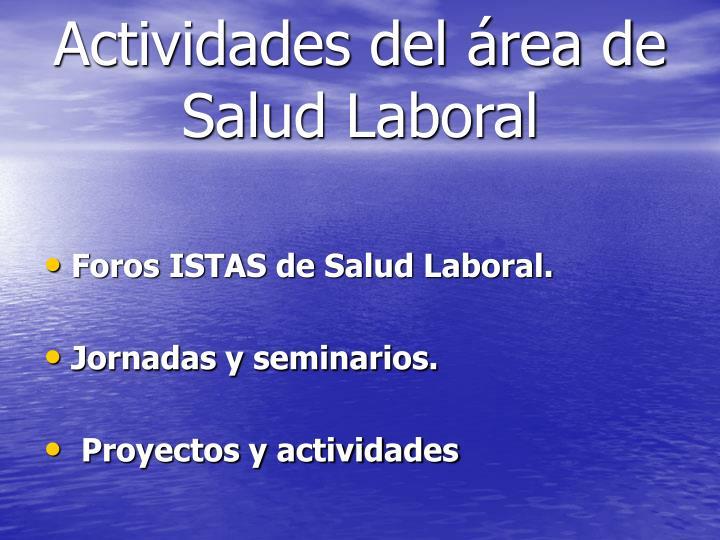 Actividades del área de Salud Laboral