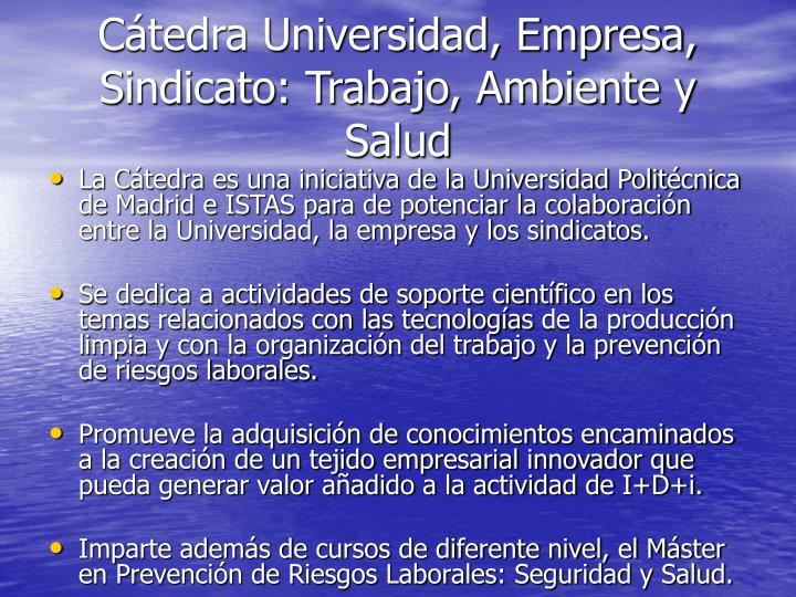 Cátedra Universidad, Empresa, Sindicato: Trabajo, Ambiente y Salud