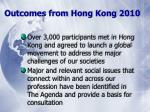 outcomes from hong kong 2010