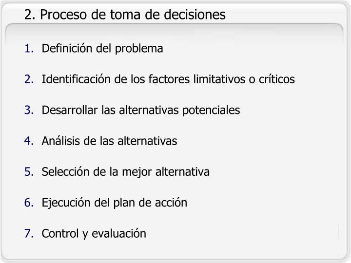 2. Proceso de toma de decisiones