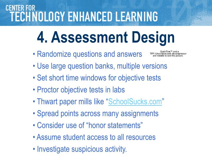 4. Assessment Design