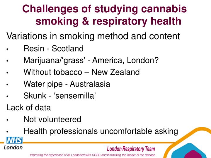 Challenges of studying cannabis smoking & respiratory health