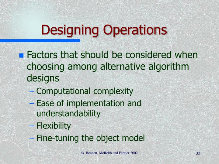 Designing Operations