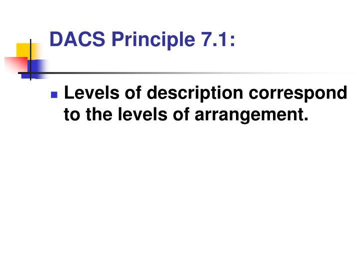 DACS Principle 7.1: