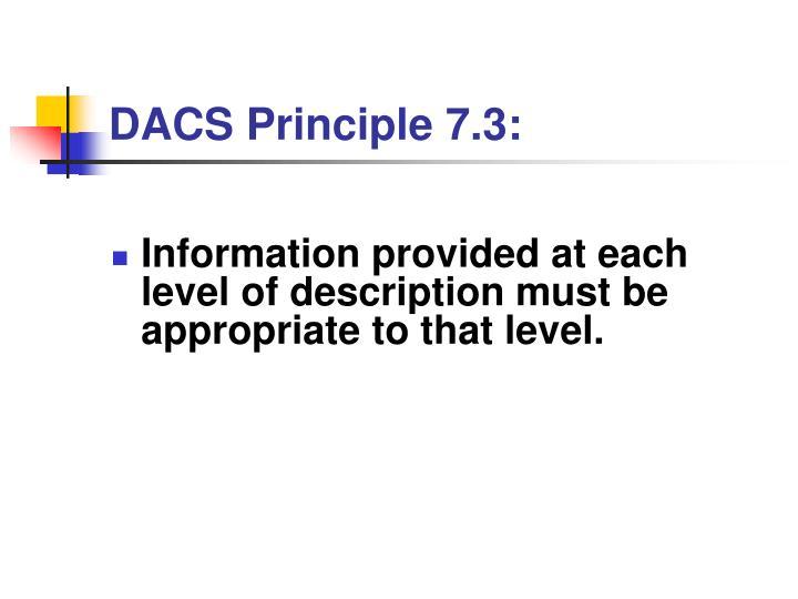 DACS Principle 7.3: