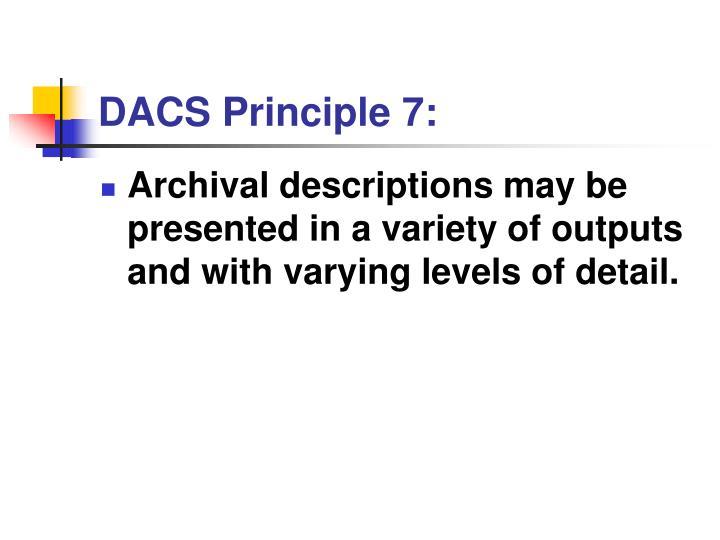 DACS Principle 7: