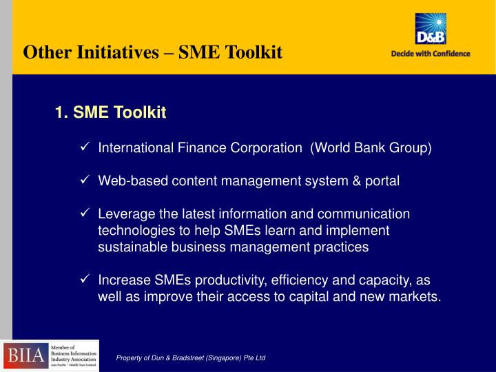 Other Initiatives – SME Toolkit