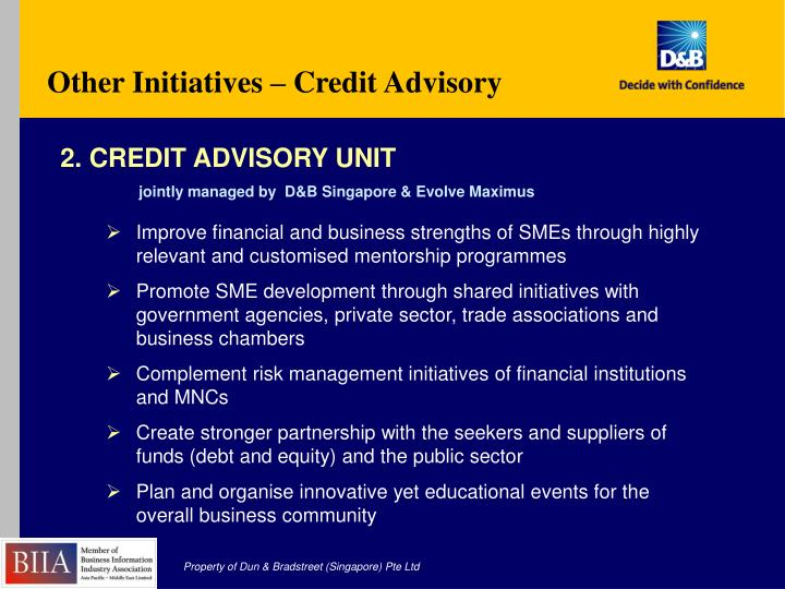 Other Initiatives – Credit Advisory